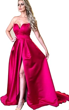Dressylady Chic A Line V Neck Satin Long Prom Dress Split Formal Evening Gowns at Amazon Womens Clothing store: