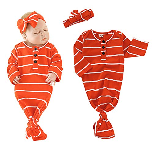 Newborn Baby Girl Gown Cotton Stripe with Button Nightgown Sleeping Bag Baby Girl Blanket Sleeper Coming Home Outfit Orange with Headband for Baby Girls 0-3months