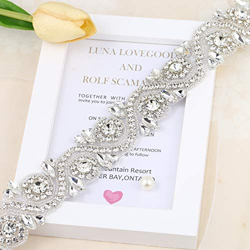 Wedding Rhinestone Trim Appliques by the Yard for Bridal Belt Sash or Wedding Dresses-Sliver-1 Piece(1.4