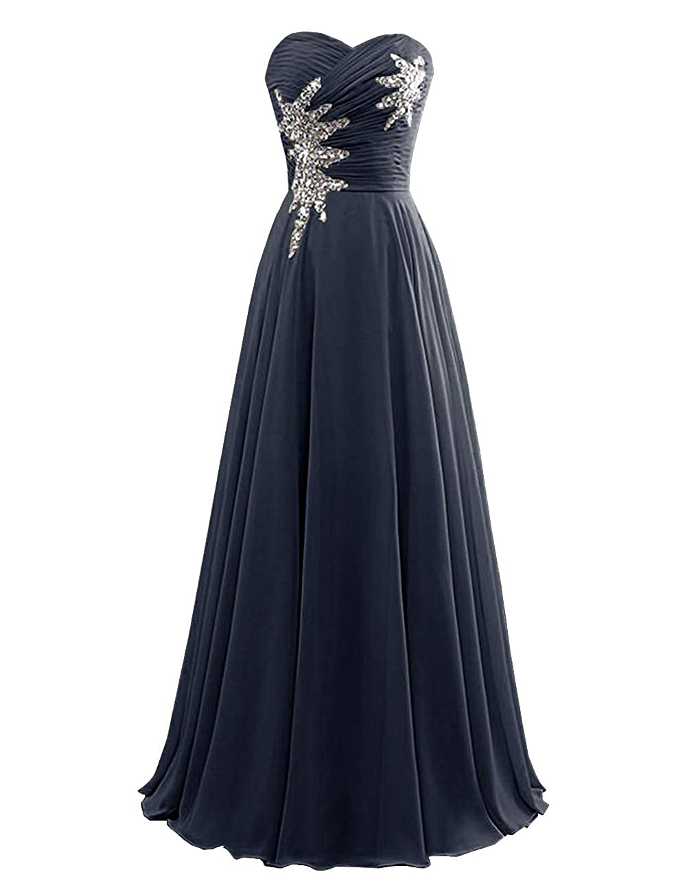 Navy bluee Women's Strapless Bridesmaid Dresses Beaded Prom Wedding Party Gowns