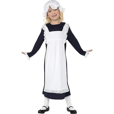 retrò colori armoniosi il più economico Costume cameriera medievale bambini vestito domestica abito di carnevale  travestimento - L 11-13 anni 145 - 158 cm