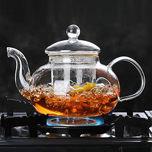 Large Clear Full Glass Teapot with Glass Infuer and Glass Lid for Tea Leaf Loose Tea (1000ml,33.8oz)