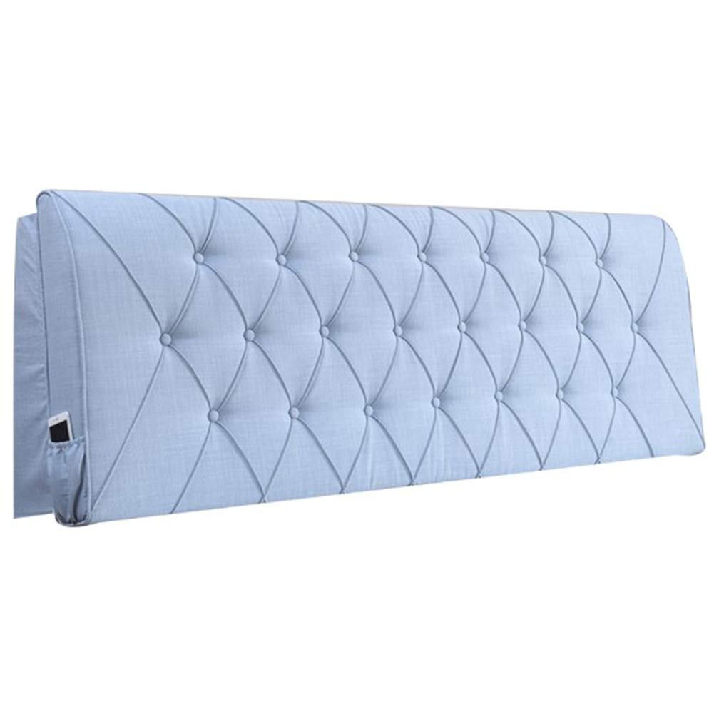 FLHSLY Bedside Cushion, Reading Pillow Linen Solid Color Bedroom Headboard Soft Case Lumbar Support Cushion Large Backrest,Blue,1856010cm