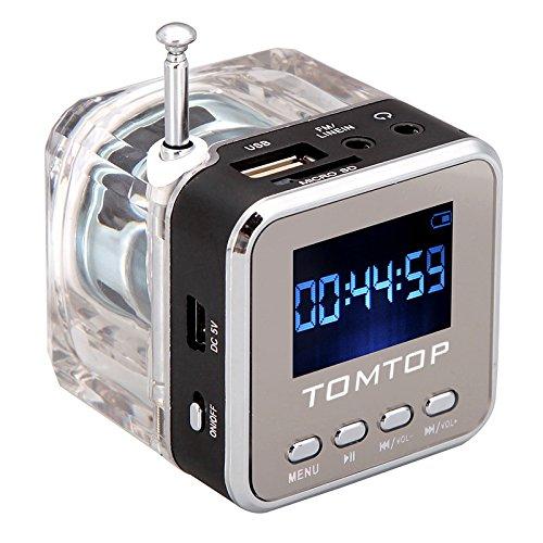 Andoer Mini Digital tragbare Lautsprecher Musik-MP3 / 4 Player Micro SD / TF USB Disk FM Radio mit Teleskopantenne und Kopfhörerausgang Funktionen (Schwarz)