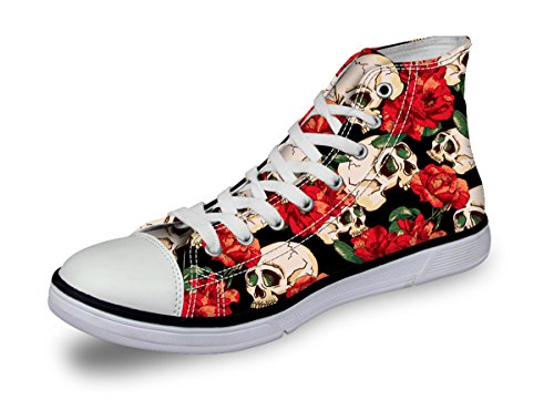 High Top Bike Sock - Retro Red Floral Print Women Canvas High Tops Skull Painted Lace Up Walking Shoe