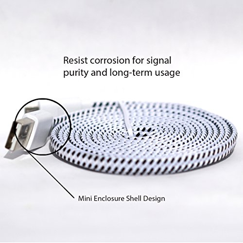 Samsung USB Charger, Nue Design Cases TM (6 FT) Braided Tangle Free Flat High Quality Super Durable Micro B USB Charging / Data Sync Cable FOR SAMSUNG GALAXY S3, S4, S5, NOTE 2, NOTE 3, NOTE 4 - (WHITE)