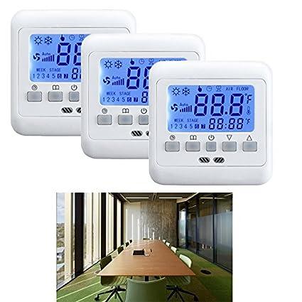 HJ® 3 x Termostato Sonda de suelo para calefacción por suelo radiante Azul LCD PROGRAMABLE