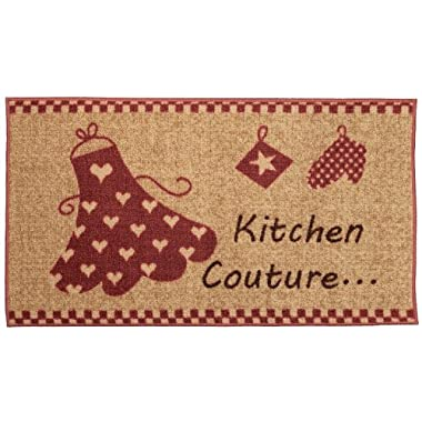 Anti-Bacterial Rubber Back Home and KITCHEN RUGS Non-Skid/Slip 18 x31  | Red Ivory Couture | Decorative Runner Door Mats Low Profile Modern Thin Indoor Floor Area Rugs for Kitchen
