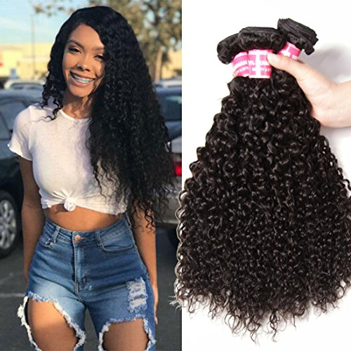 Nadula Hair 8A Brazilian Curly Hair Weave 3 Bundles 10 12 14inches Virgin Unprocessed Curly Human Hair Extension Natural Black Color Virgin Curly Hair Weft
