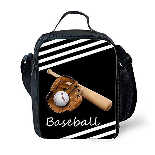 doginthehole Baseball Lunchbox Student Portable Travel Tote Insulated Lunch Bag ()