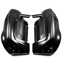 NEVERLAND Vivid Black Lower Vented Leg Fairings Glove Box for Harley Road King Touring Electra Glide