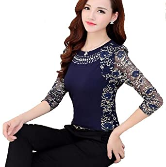 1ade035e5a069 Women's designer party wear tops blouse Shirt Autumn Rhinestone Long Sleeve  O Neck Lace Slim Tops: Amazon.in: Clothing & Accessories