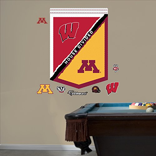 NCAA Wisconsin Badgers Minnesota House Divided Banner Fathead Real Big Decals, 34