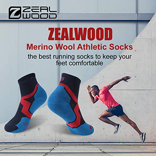 Trail Running Socks, ZEALWOOD Athletic Running Socks for Men and Women,Merino Wool Low Cut Antibacterial Wicking Socks 3 Pairs-Blue Black by ZEALWOOD (Image #2)