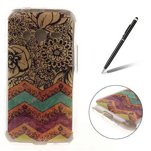CasesHome Premium TPU Silicone Gel Protective Case Shockproof Soft Rubber Shell Cover for Samsung Galaxy Ace 4/G313H with Unique Patterned Design-Colourful Stripes Flower