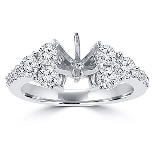 1.25 ct Ladies Round Cut Diamond Semi Mounting Engagement Ring in 14 kt White Gold In Size 5 14k Ring Mounting