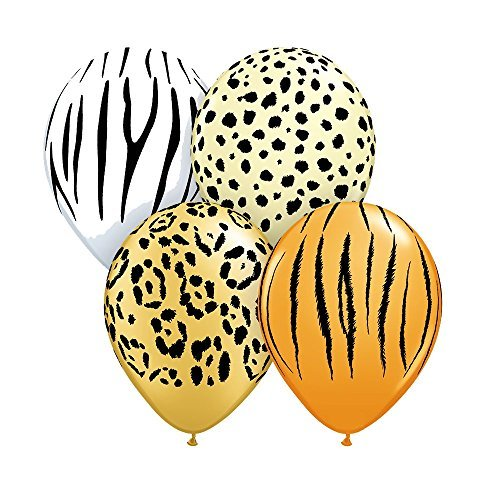 Qualatex Safari Assortment Biodegradable Latex Balloons, 11-Inch (Zebra Print Party)