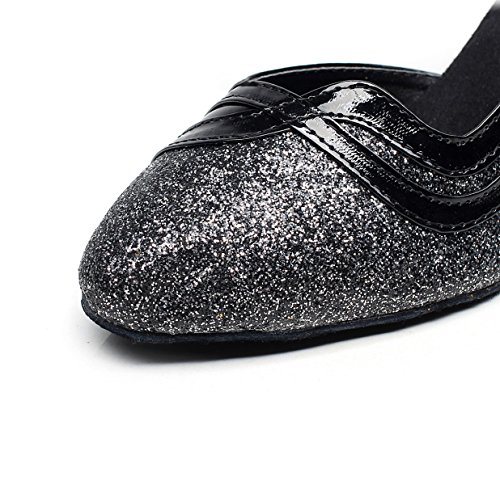 JSHOE Womens Closed Toe Talon Haut PU Cuir Paillettes Salsa Tango Ballroom Chaussures De Danse Latine,Black-heeled7.5cm-UK6.5/EU40/Our41