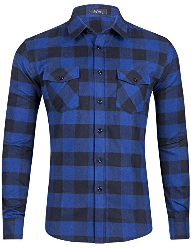 Men Flannel Thermal - XI PENG Men's Dress Long Sleeve Flannel Shirt Thermal Plaid Checkered Jacket (Royal Blue Buffalo Plaid, X-Large)