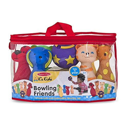"51k73iBQ40L - Melissa & Doug Bowling Friends Preschool Playset, Plush 6-Pin Bowling Game with Carrying Case, Weighted Bottoms, 7 Pieces, 9"" H x 8.5"" W x 7"" L"