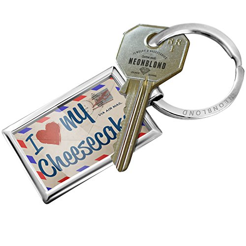 NEONBLOND Keychain I Love my Cheesecake, Vintage Letter