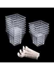 ISKYBOB Set of 50 Plastic Dessert Cups 2oz Clear Square Mousses Jelly Cup Disposable Appetizer Fruits Serving Bowl with 50 Pieces Tasting Spoons Free