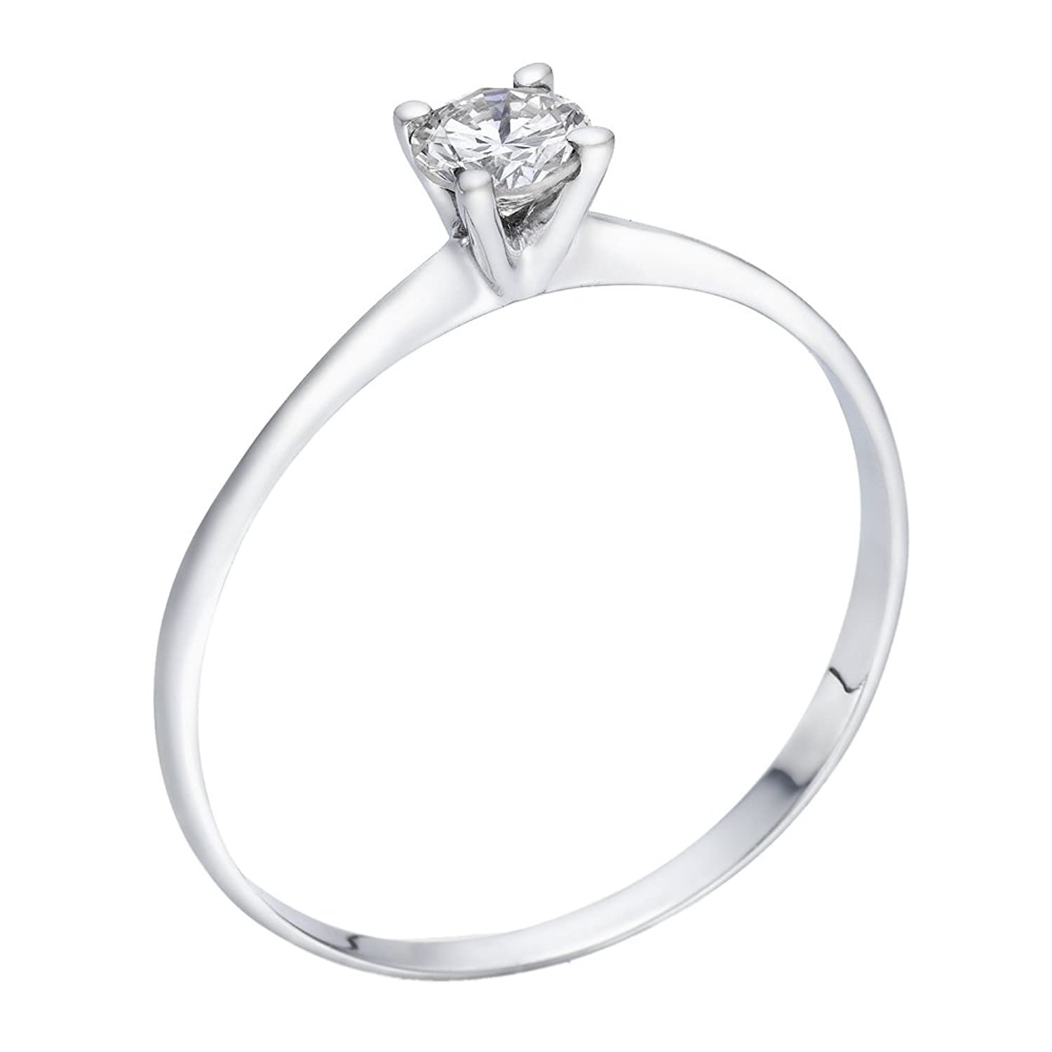 in solitaire diamond round prong rounded ring with rose engagement gold shank cut