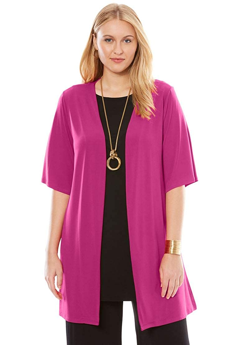 Jessica London Women's Plus Size Travel Knit Collarless Topper
