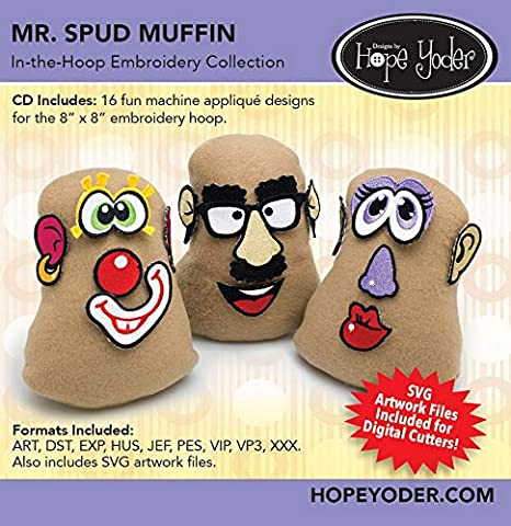 Amazon com: Mr  Spud Muffin Embroidery CD w/SVG - Designs by Hope Yoder