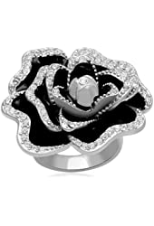 Jewelili Clear Crystal Sterling Silver Ring - Size 7