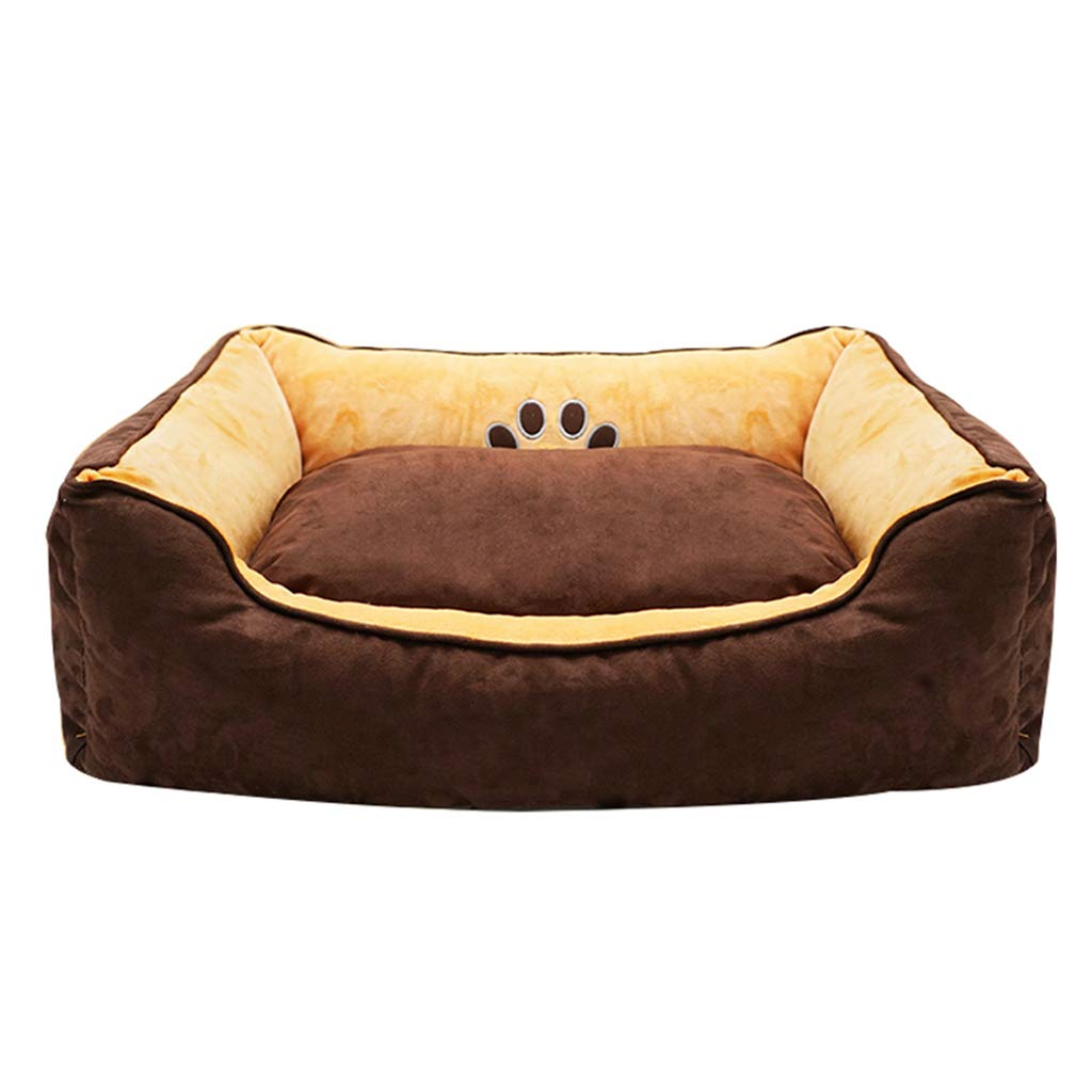 BROWN S BROWN S Pet Bed Teddy Kennel Cat Nest Four Seasons Warmth Removable and Washable Large Small Dog Pet Mat 3 colors (color   Brown, Size   S)