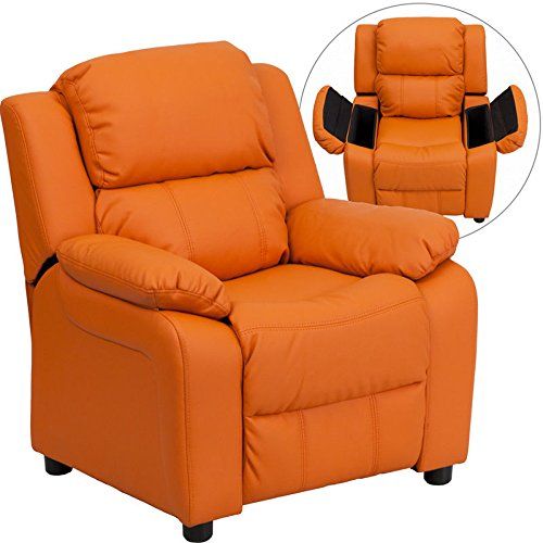 Eight24hours Deluxe Heavily Padded Orange Vinyl Kids Recliner W/Storage Arms
