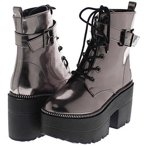 Shoe Republic LA Metallic Reflective Chunky Platform Boots Harrison (Pewter 10)