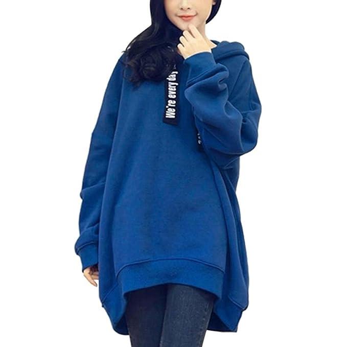 SHOBDW Moda Mujeres Invierno otoño Informal Sudaderas Sudaderas de impresión de Letras Blusa (Azul,