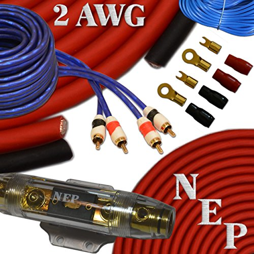 2 Gauge Amp Kit, 20% Oversized 2 AWG Power & Ground Cable, 175 Amp Mini-ANL Fuse, 10 AWG Speaker Wire & More