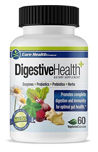 Core Health Digestive Health 60 Count - Digestive Enzymes, 15 Strains of Probiotics and Prebiotics, Herbs