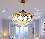 Cheap Efperfect Crystal Retractable Ceiling Fan with Remote Control LED Home Decoration Dinner Room Bedroom Silent Modern Fans Chandelier 8 Acrylic Invisible Blades 42 Inch