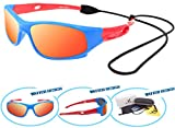 VATTER TR90 Unbreakable Polarized Sport Sunglasses For Kids Boys Girls Youth 816blueredlenses