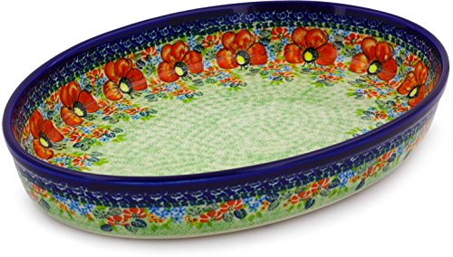 Polish Pottery Oval Baker 14-inch (Garden Meadow) UNIKAT by Polmedia Polish Pottery