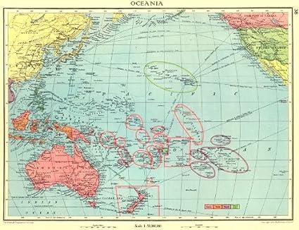 Oceanía; British Holandés Francés Nosotros pertenencias Colonias – 1938 – Old Antiguo Mapa