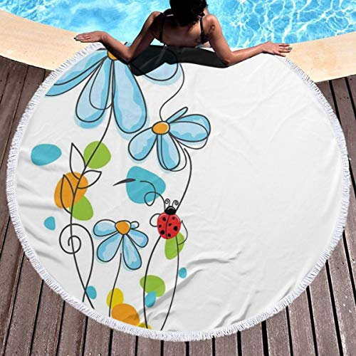 - GULTMEE Round Beach Towel Beach Blanket,Flowers and Oval Dome-Shaped Ladybugs Illustration Never Ending Love Story Luck Symbol,Large Multi-Purpose Towel Beach Mat 59