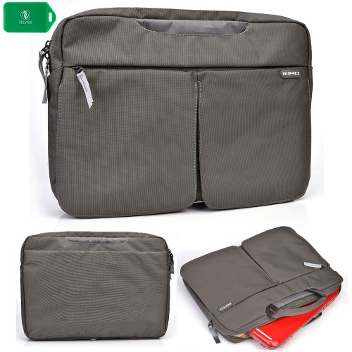 Protective laptop messenger bag with carrying handles in grey FOR Samsung Chromebook Series 5 550 (Samsung Chromebook 550)