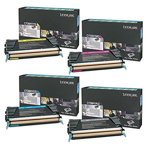 Lexmark C736H1KG, C736H1CG, C736H1MG, C736H1YG High Yield Toner Cartridge Set - Lexmark C736n (Laser Color Printer C736dn)