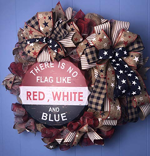 Patriotic Wreath| Stars Ribbon| Star ribbon Bows|Burlap Mesh|Red White and Blue|Bottle cap Sign| |Wreath Addiction RN| Free Shipping|