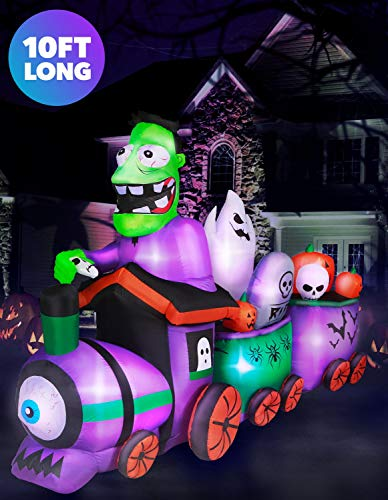 Blow Up Halloween Pirate Ship (Holidayana 10 ft Graveyard Train Airblown Halloween Lawn Inflatables, Giant Spooky Weather Resistant Inflatable Decor with LED Lights, Built-in Fan, and)