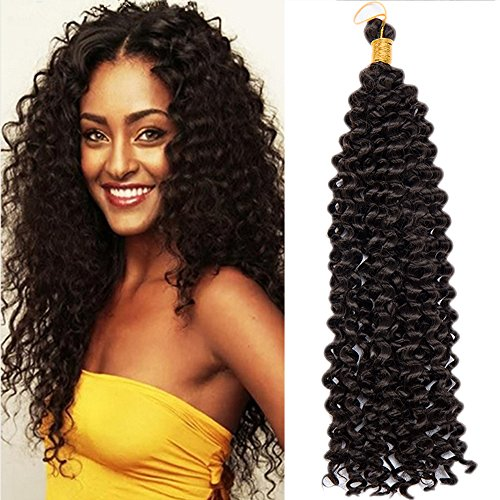 "Price comparison product image S-noilite Water Wave Synthetic Hair Bundles Crochet Braiding Hair Extensions Afro Kinky Twist Braids Dreadlocks Faxu Locs for Black Beauties Black Women (15""-1pack/lot, Dark Brown)"