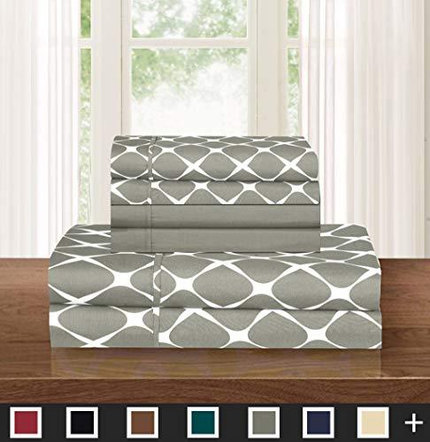 Elegant Comfort  Luxury Softest 6-Piece Sheet, Wrinkle Resistant Milano Trellis Pattern 1500 Thread Count Egyptian Quality Coziest Bedding Set, California King, Grey
