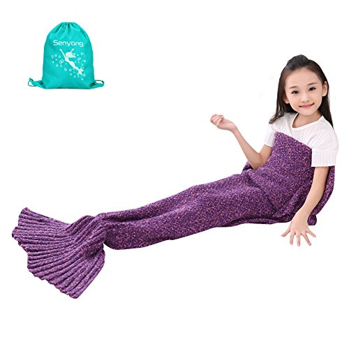 Mermaid Blanket - SENYANG Mermaid Tail Blanket Handmade Crochet Sofa Blankets All Seasons Sleeping Bags Best Choice for Girls Gift Christmas Gift (Kid Thick Purple&Red) (Gift Ideas Girls Christmas)