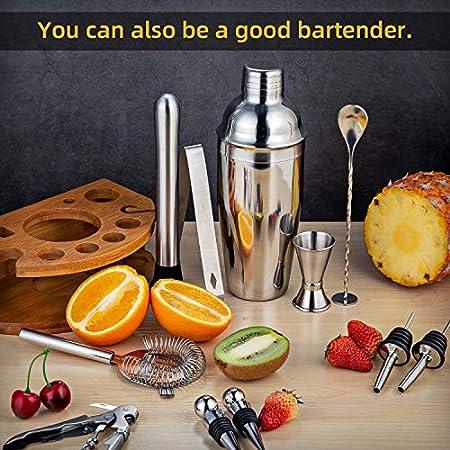 Juego de 12 coctelera de bartender con soporte de bambú de acero inoxidable, herramientas de barra incluyendo Martini Shaker Beber Mezclador Set