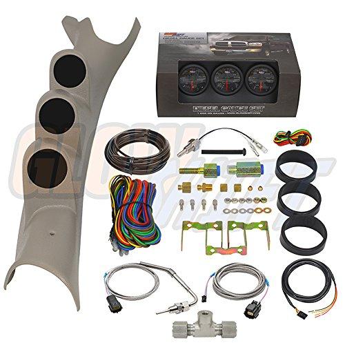 GlowShift Diesel Gauge Package for 2003-2009 Dodge Ram Cummins 2500 3500 - Black 7 Color 60 PSI Boost, 2400 F Pyrometer EGT & Transmission Temp Gauges - Factory Color Matched ()
